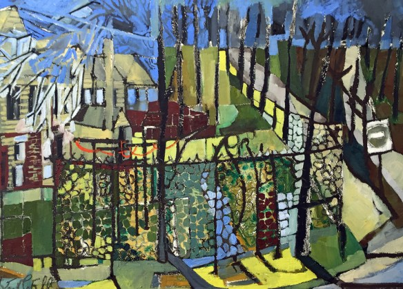 Backyards. Franklin Street, Portland. Whole Foods Series. American Artist, Erin McGee Ferrell. Onsite Oil Painting Maine. 50x 38 in. Philadelphia-Artist.com