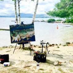 New Hampshire Lake Painting. Swimming Beach, New London