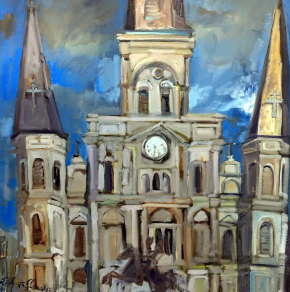 St. Louis Cathedral painting. French Quarter, New Orleans