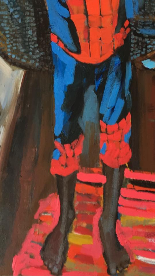 Spider-man. Maine Contemporary Figurative Painter. Erin McGee Ferrell