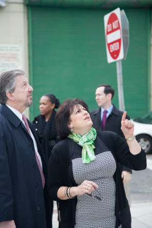 "LISC President and CEO Michael Rubinger and Asociación Puertorriqueños en Marcha (APM) President and CEO Nilda Ruiz examine the completed Paseo Verde transit-oriented development. ""LISC invested over $11 million into Paseo Verde, which I see as the crown jewel of 25 years of partnership with APM in Eastern North Philadelphia,"" said Rubinger."
