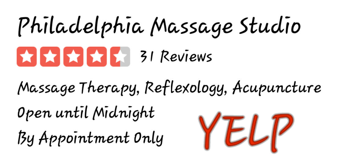 31 5-five Star Yelp review for Philadelphia Massage Studio