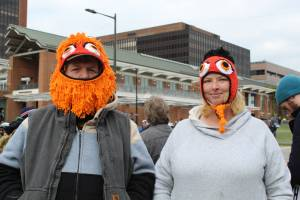 It was pretty cold out there — Gritty can be both functional and fashionable.