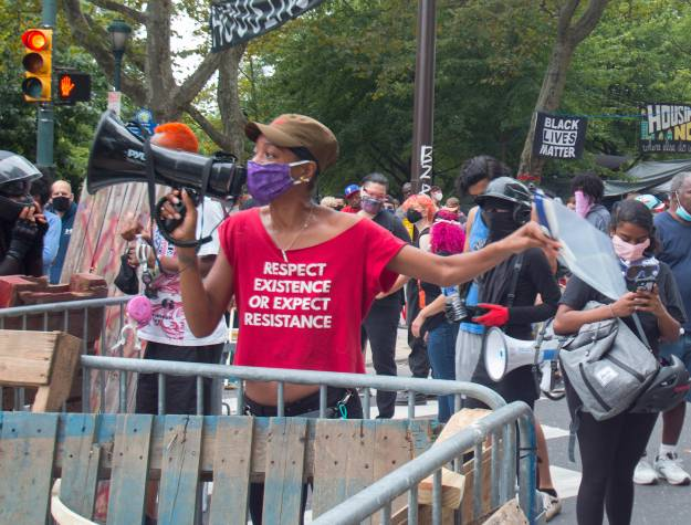 Protestors at Parkway encampment