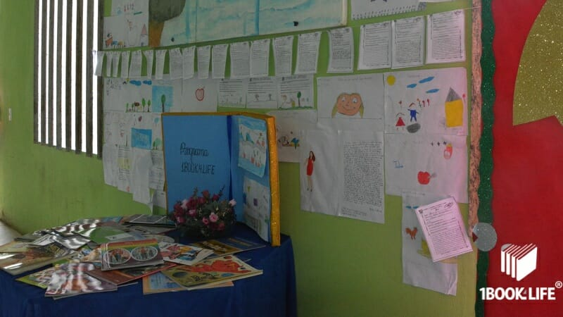 Mural of essays made by the kids