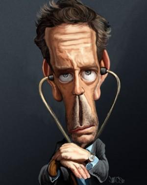 Доктор Хаус (актер Хью Лори). Карикатура Нельсона Сантуша (Nelson Santos)