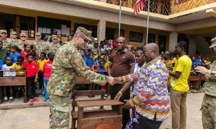 US Military donates desks to L & A Memorial Academy