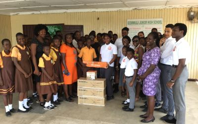 CIC students and staff give ceiling fans to Dzorwulu JHS