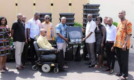 UEW-COLTEK SRC gives PA system, waste bins to college