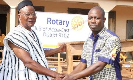 Rotary Club Accra East gives desks to Sinyangsa School