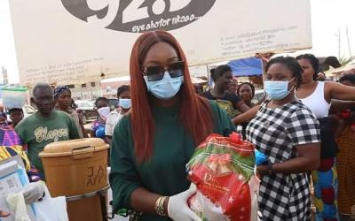 Jackie Appiah takes COVID-19 outreach to market