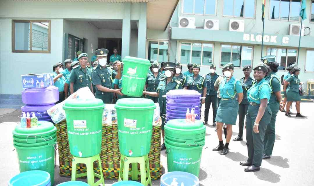 Ghana Immigration Ladies give GIS hygiene supplies
