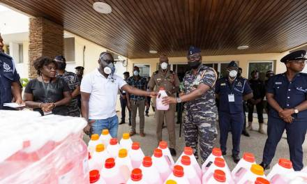 Market Icons gives hand sanitizers to Ghana Police