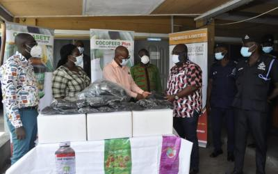Chemico gives Tema Police, Marine Unit, facemasks
