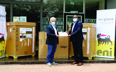 Eni Ghana and OCTP Partners give KORLE-BU equipment to support COVID-19 fight