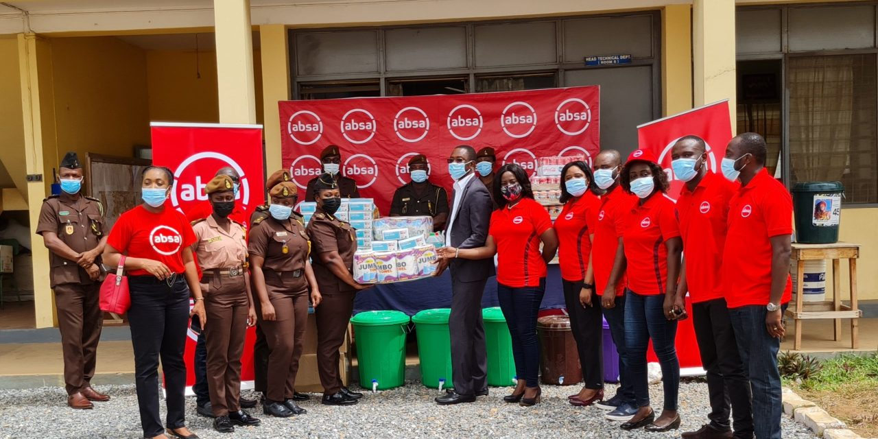 ABSA Bank Ghana's Risk Function Unit staff donate PPE to Senior Correctional Centre