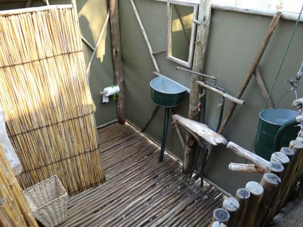 Safari tent outdoor bathroom at Oddballs Camp Botswana