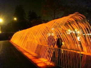 The tunnel fountain - watch out for people disrupting water