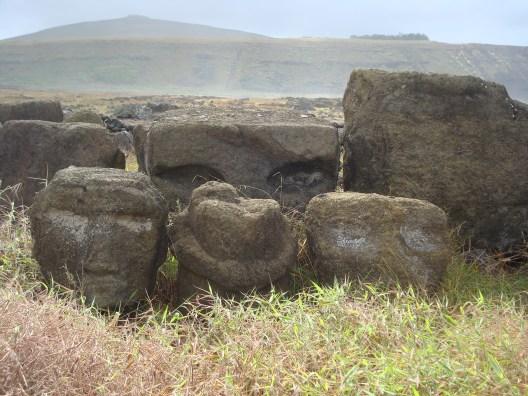 Moai heads of Easter Island statues