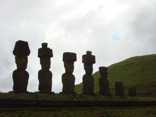 Moai of Easter Island at the Anakena