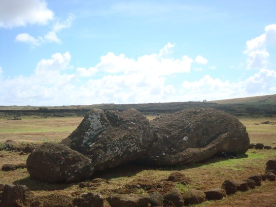 Moai left behind Easter Island statues