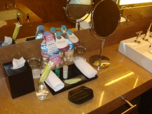 Heavenly toiletries and free Evian