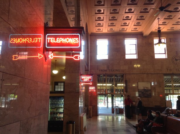 Neon nostalgia at Union Station, Portland, Ore.