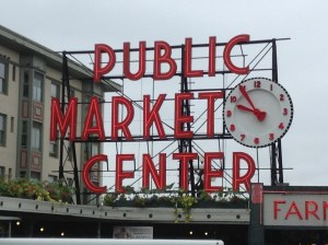 Pike Place Market Seattle short walk from Four Seasons Seattle and Loews Hotel 1000