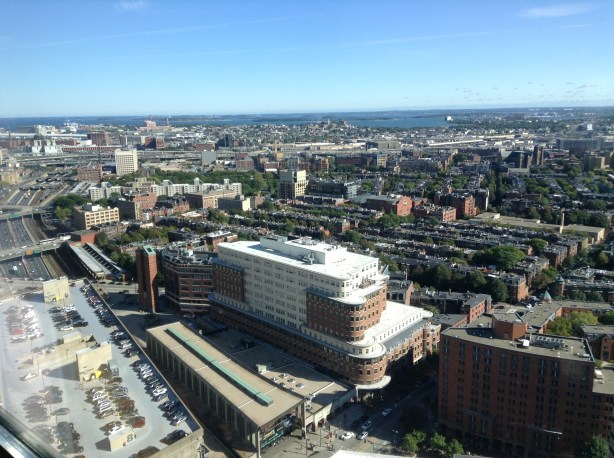 Overhead view of Boston from Westin Copley Square hotel