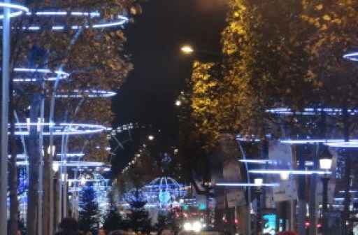 Holiday lights along the Champs-Elysees Paris