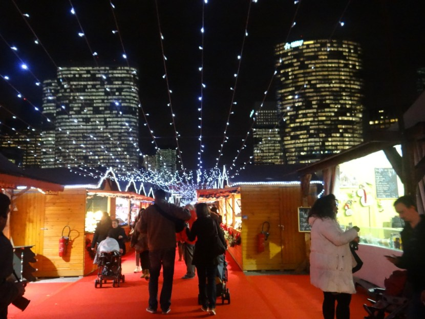 La Defense Christmas market at night