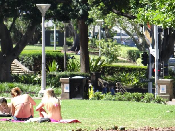 Sunbathing in Sydney Hyde Park