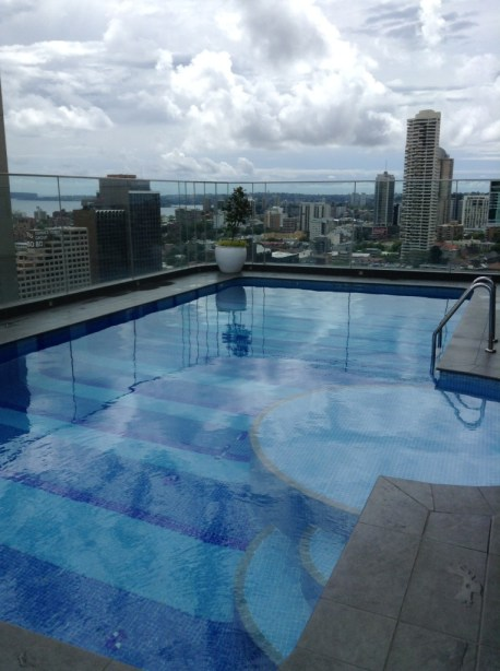 Sydney Pullman Hyde Park rooftop pool view of city