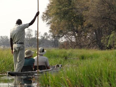 Okavango Delta mokoro boat transit
