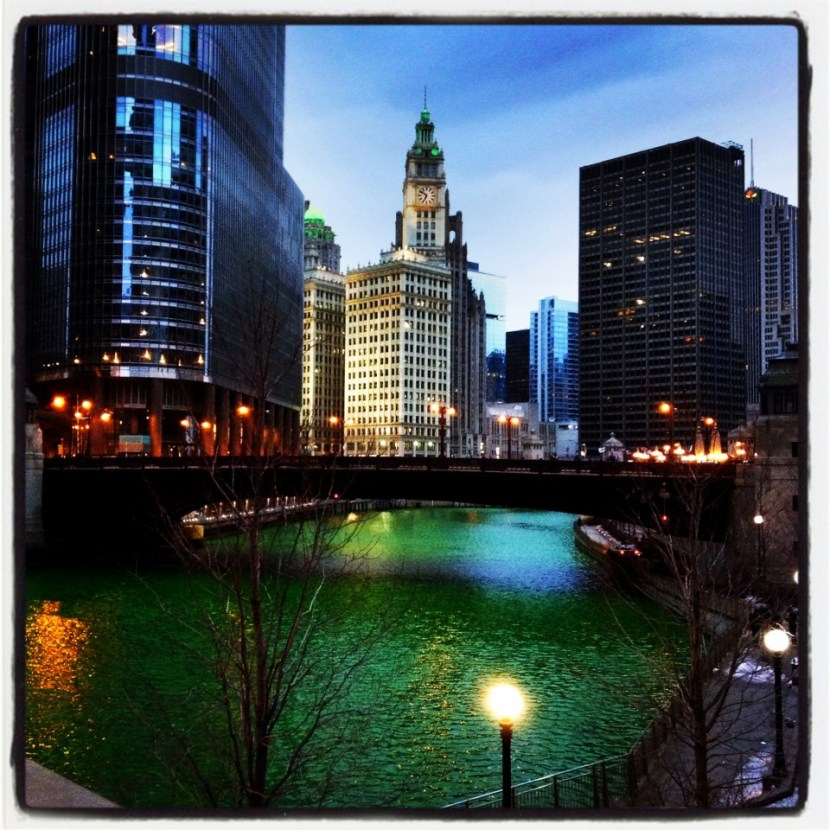Green Chicago River at night