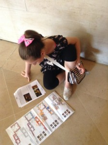 Aubrey maps out our strategy for our treasure hunt at the Louvre