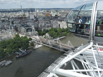 The London Eye capsule at the top