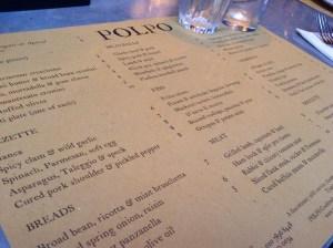 Placemat menu Polpo Covent Garden