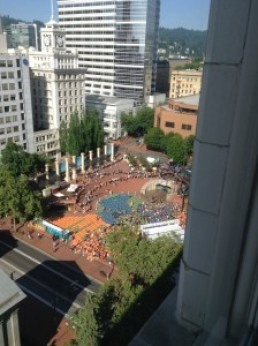 Pioneer Square Portland view from The Nines Hotel
