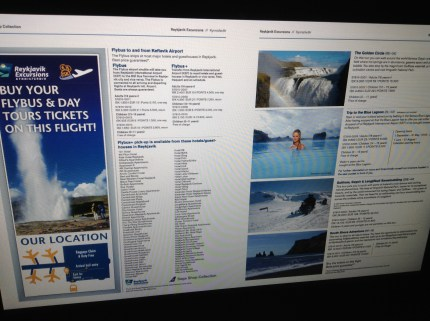 Icelandair Tours for purchase on flight