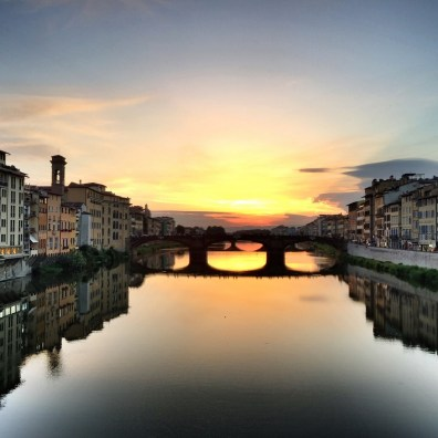 Florence sunset Arno river Solo Travel in Italy