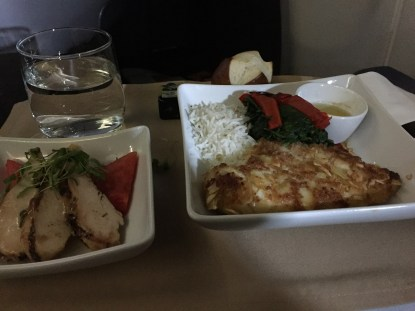 Philadelphia to Manchester UK business class meal