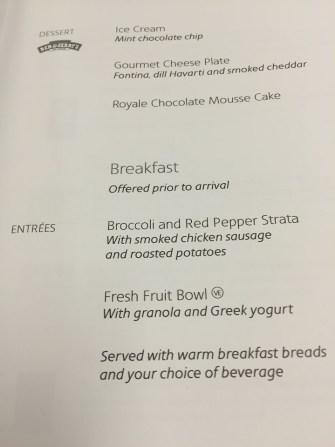 Philadelphia to Manchester UK business class menu