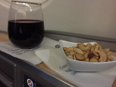 AA business class A330 Philadelphia to Manchester UK wine nuts