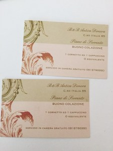 Breakfast vouchers B&B Antica Dimora Piano di Sorrento
