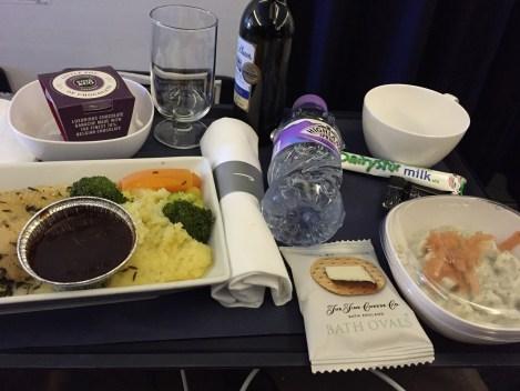 World Traveller Plus British Airways lunch