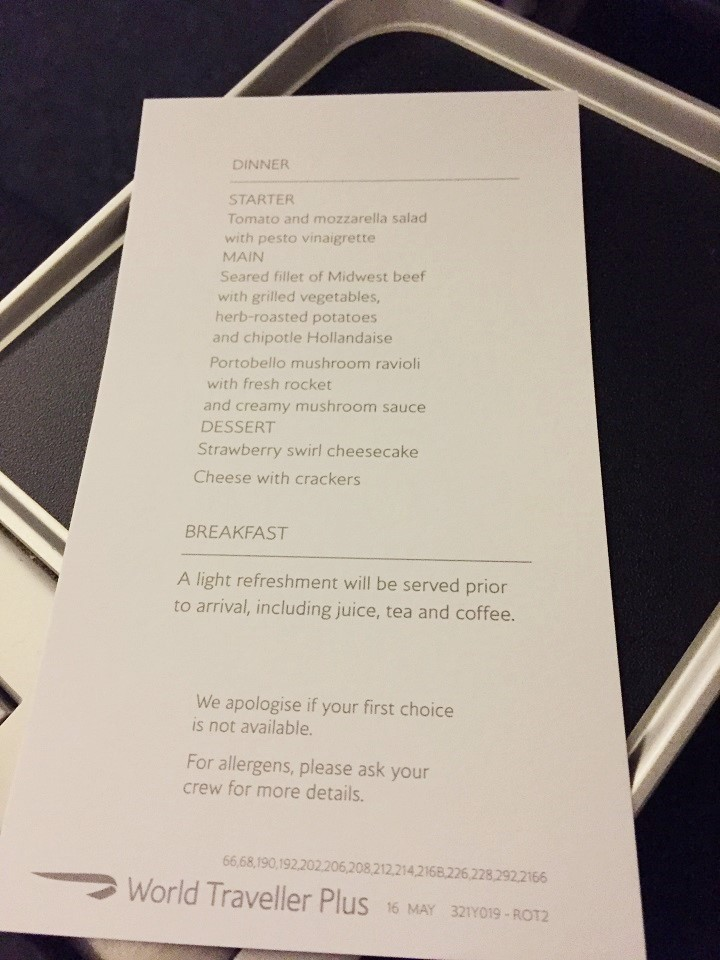 Overnight Flight Phl Lhr Menu On British Airways World