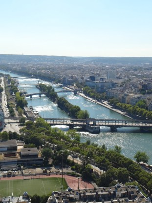 Visiting the Eiffel Tower in Paris Seine view from above