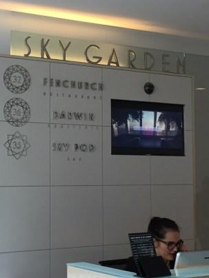 Sky Garden Restaurant check in desk