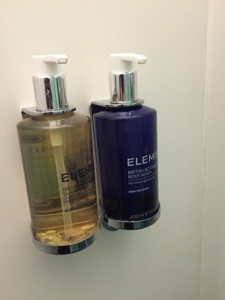 Shower at Heathrow Elemis Toiletries